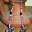 Happy Halloween Everyday Purple Bats in Black Earrings