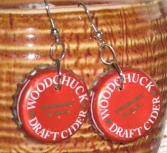 WOODCHUCK Cider Recycled Bottle Cap Earrings Hand Made