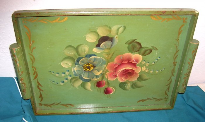 Wood Wooden Tole Tray Jadite Green Roses