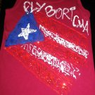 "PUERTO RICO FLAG TANK TOP ""FLY BORICUA"" MEDIUM"
