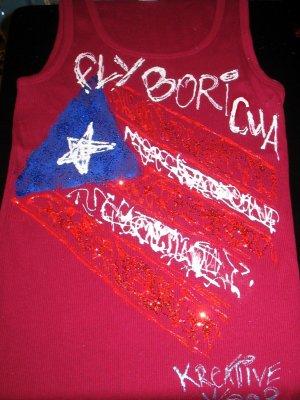 "PUERTO RICO FLAG TANK TOP ""FLY BORICUA"" MEDIUM"