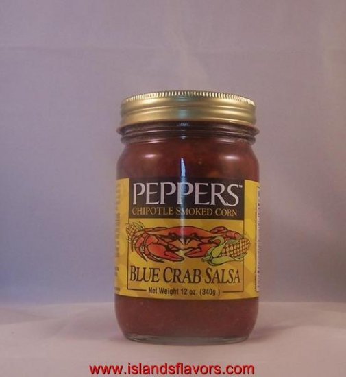 PEPPERS Chipotle Smoked Corn Blue Crab Salsa 12oz Jar