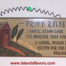 OUTHOUSE - PRIVY RULES Bathroom Humor Wood Sign New