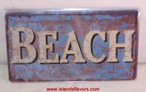 BEACH Weathered Tin Sign New Tropical Decor