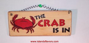 THE CRAB IS IN Beach Weathered Home Decor Wood Sign NEW