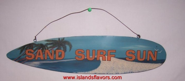 Sand Surf Sun - Surfing Surfboard Metal Sign