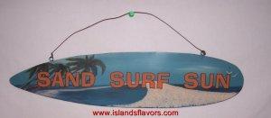 Sand Surf Sun - Surfing Surfboard Metal Sign