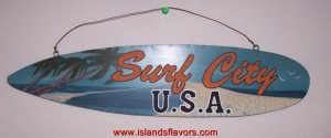 SURF CITY SURFBOARD SIGN Surfing Beach Painted Tin Metal NEW
