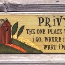 OUTHOUSE PRIVY Country Rustic Bathroom Humor Wood Sign