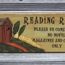 OUTHOUSE READING ROOM Bathroom Humor Wood Sign