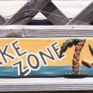 No Wake Zone Man in Beach Hammock Tropical Wood Sign