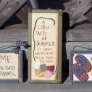 Summertime Welcome Tropical Beach Wood Plaque Signs