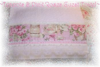 Chic! PINK Teapot ROSES Decorative Guest HAND TOWEL