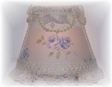 Cottage Blue Roses Romantic Chic NIGHT LIGHT w/ Ivory Pearls & Lace