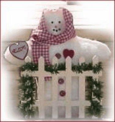 Cute Country Soft Sculpture Snowwoman WELCOME Gate
