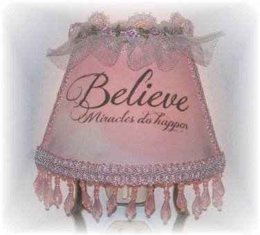 BELIEVE Miracles Do Happen NIGHT LIGHT with Pink Fringe Beading Tulle Rosettes