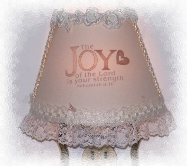 NEW~* Inspirational JOY Scripture Christian NIGHT LIGHT Ivory Pearls Lace