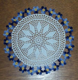 Forget Me Not Hand Crochet Doily - **NEW**
