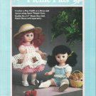 "Crochet Doll Clothes Pattern-Playout/Dress & Apron-Fits 13"" Music Box Doll"