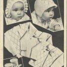 Vintage Pattern-Knit O Graf-No. 755- Baby Bonnet-Booties-Cardigan
