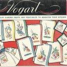 Vintage Vogart Hand Embroidery Iron On Transfers-Gay Garden Fruits-Veg.- Kitchen