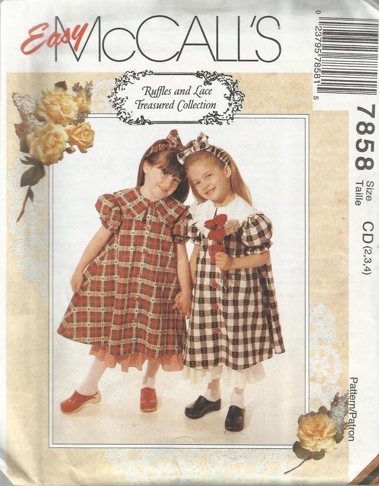 McCall's Ruffles & Lace Pattern-Children's Dress-Petticoat-Headband  Sz 2-3-4