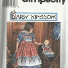"Pattern-Daisy Kingdom Child's Dress & Pinafore & Doll Dress for 17"" Doll-Sz 3-6"