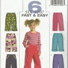 Butterick Pattern-Six Sew Fast & Easy-Children's Pants-Sz 2-3-4-5
