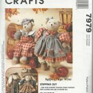 """McCall's Craft Pattern-Faye Wine-18"""" Bear & Bunny Dolls and Clothes"""
