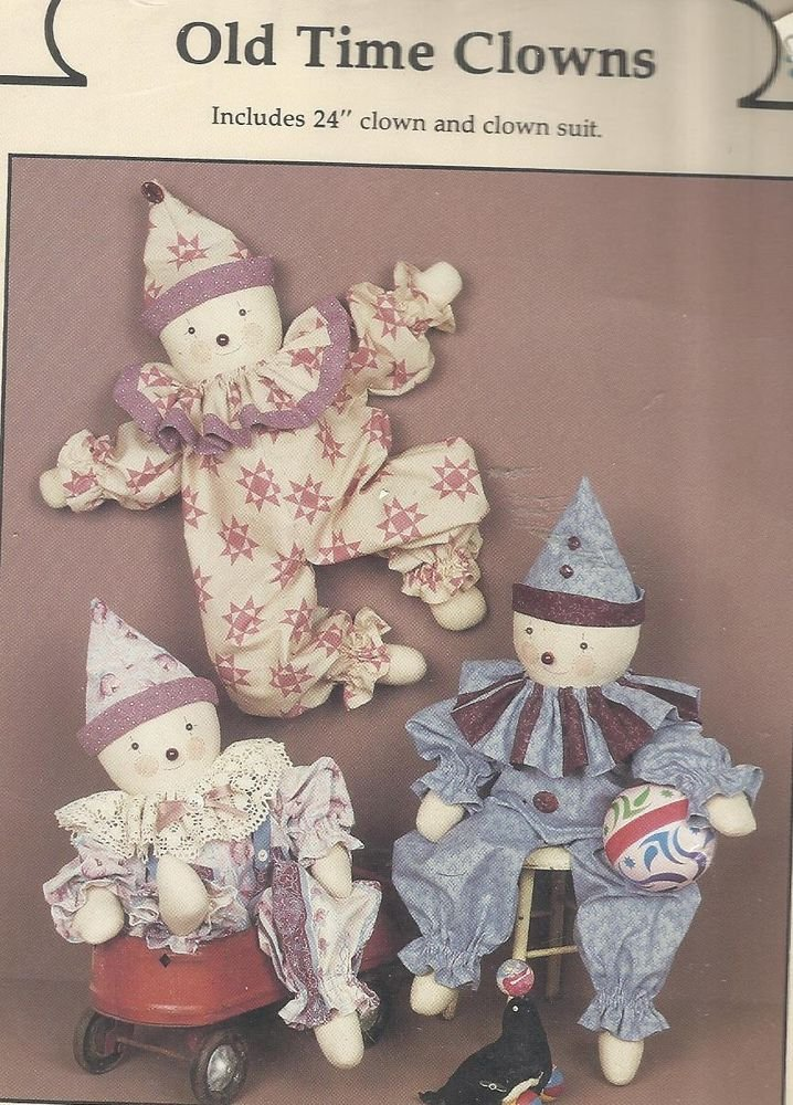 """Jenny Wren Doll Pattern-Old Time Clowns-24"""" Dolls and Clothes"""