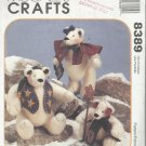 "Christmas Craft Pattern-Homespun At Heart-Snow Bearies-12"" & 9"" Bears"