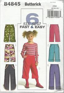 Butterick Pattern-6 Sew Fast & Easy-Children's Pants in Sizes 2-3-4-5  UnCut
