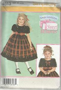 Simplicity Daisy Kingdom Pattern--Child's Dress & Capelet Sz. 5-6-7-8  Christmas