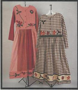 Fabricraft Pattern-Holiday Folk Art Dress With Applique in Sizes XS-S-M-L  UNCUT