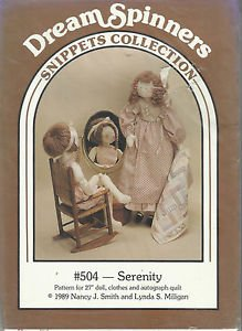 """Doll Pattern-Dream Spinners-27"""" Serenity Doll & Clothes-Quilt  UNCUT"""