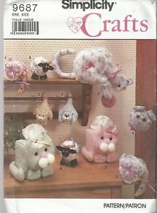Simplicity Crafts Pattern #9687 Cat Tissue Covers-Shelf Cat-Hanging Cat