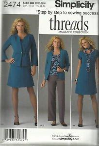 Plus Size Pattern-Threads-Women's Dress/Top-Pants-Jacket-Knit Top-Sizes 20W-28W