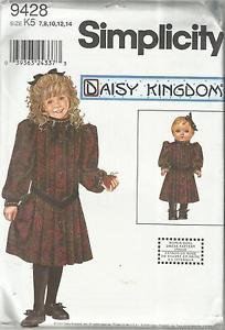 "Pattern 9428-Daisy Kingdom-Girl's Dress & Doll Dress For 18"" Doll-Sz 7-14  UNC"
