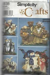 "Simplicity Crafts Pattern-17"" Families-Bunnies-Bears-Cats-Penguin-Snowman"