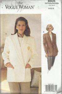 The Vogue Woman Pattern #8605-Misses Jacket-Sz 8-10-12.  UNCUT