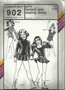 Stretch N Sew Pattern-Girls Leotard & Skating Dress in Chest Sizes 21-27  UnCut