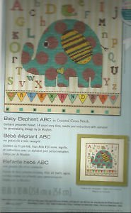 Dimensions Counted Cross Stitch Kit-Baby Elephant ABC  UNOPENED