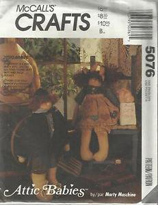 """McCall's Craft Pattern-Attic Babies 18"""" Doll & Clothes   UNCUT"""