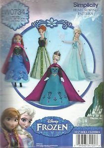 """Simplicity Craft Pattern #0734-Disney Frozen-Doll Clothes for 11 1/2"""" Doll UNCUT"""