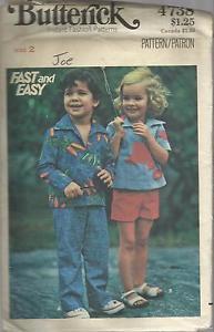 VintageFast & Easy  Butterick Pattern-Children's Top-Pants-Shorts  Sz 2  UNCUT
