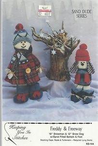 "Craft Pattern Keeping You in Stitches-Freddy & Freeway-16"" Snowman-12"" Snow Dog"