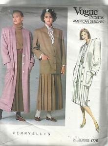 Vin. Vogue American Designer Pattern-Perry Ellis-Misses Coat-Jacket-Skirt Sz 10