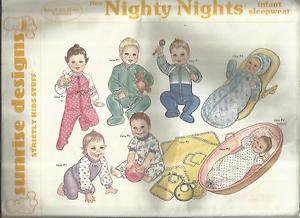 Sunrise Designs Pattern-Nighty Nights-Infant Sleepwear-3Mo-6Mo-12Mo-Preemie UNCU