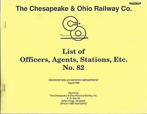 History/Genealogy-The Chesapeake & Ohio Railway Co.-List of Officers-Agents-Sta