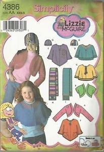 Simplicity Lizzie McGuire Pattern #4386  Child's Fleece Shrug-Capelet-Sz XXS-S